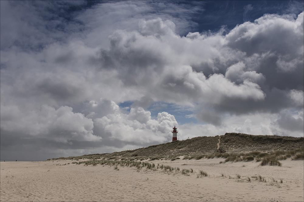 Auf dem Sylter Ellenbogen, dem nördlichsten Teil der Nordseeinsel Sylt (Landkreis Nordfriesland). Der nördlichste Punkt der Halbinsel, der auf dem Westellenbogen nordöstlich des Leuchtturms List West liegt, stellt die nördlichste Landesstelle Deutschlands dar. Die Erhebungen auf dem Ellenbogen bestehen aus Dünen, auf den unter anderem Heidekräuter wachsen. Die höchste davon ist der 27,9 Meter hohe Ellenbogenberg, der sich im Südwesten der Halbinsel im Übergangsbereich zum Syltteil Listland befindet. Nahezu die gesamte Fläche ist Naturschutzgebiet und Vogelschutzgebiet. Im Hintergrund der Leuchtturm List West.