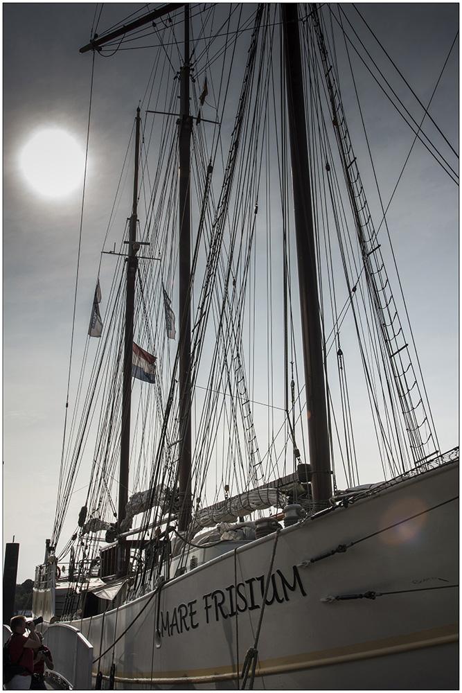 """Die """"Mare Frisium"""" (""""Friesisches Meer""""), ein historischer Dreimastmarstoppsegelschoner auf seinem Liegeplatz im Hamburger Hafen. Es ist ein Schiff mit bewegter Geschichte. Ursprünglich wurde es 1916 als Segelschiff gebaut, als Zweimeister mit dem Namen """"Petronella"""" fuhr es auf die Nordsee zum Fischen. In den Fünfzigerjahren wurde es dann zum ersten Mal zum Frachtschiff umgebaut, die Masten wurden abgenommen und es hieß """"Helmut"""". Mitte der Neunzigerjahre wurde das Schiff wiederentdeckt, auf den ursprünglichen Segelrumpf wurde wieder eine traditionelle Takelage draufgesetzt und von da an trug es den Namen """"Mare Frisium"""". Das Schiff ist 50 Meter lang und 6,70 Meter breit. Es hat eine Segelfläche von 634 Quadratmeter. Der Hauptmast hat eine Gesamtlänge von 31 Meter. Touristen können heute mit dem Segler Ein- oder Mehrtagssegeltörns unternehmen."""