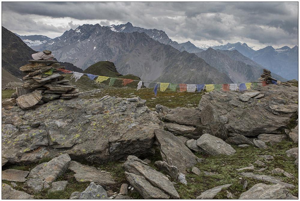 Auf der Finstertaler Scharte (2777 Meter) südlich von Kühtai in den Ötztaler Alpen in Tirol, Österreich.