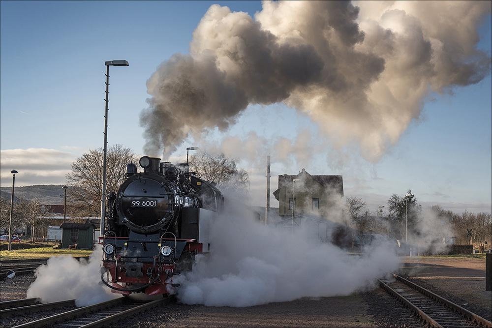 Die historische Dampflok 99 6001 zieht einen Personenzug auf der Schmalspurstrecke der Selketalbahn am Bahnhof Gernrode, einem Ortsteil von Quedlinburg (Landkreis Harz) im Harz. Die Dampflok wurde 1939 bei Krupp in Essen gebaut. Die Höchstgeschwindigkeit beträgt 50 km/h.