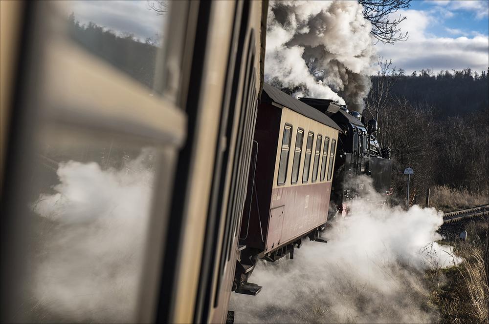 Die historische Dampflok 99 6001 zieht einen Personenzug auf der Schmalspurstrecke der Selketalbahn bei Gernrode, einem Ortsteil von Quedlinburg (Landkreis Harz) im Harz. Die Dampflok wurde 1939 bei Krupp in Essen gebaut. Die Höchstgeschwindigkeit beträgt 50 km/h.