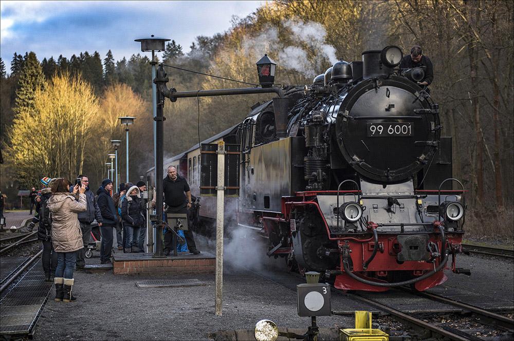 Die historische Dampflok 99 6001 zieht einen Personenzug auf der Schmalspurstrecke der Selketalbahn, hier im Bahnhof Alexisbad (Landkreis Harz) im Harz. Der Aufenthalt auf dem Bahnhof Alexisbad wird genutzt, um den Wassertank der Lok aufzufüllen. Die Dampflok wurde 1939 bei Krupp in Essen gebaut. Die Höchstgeschwindigkeit beträgt 50 km/h.