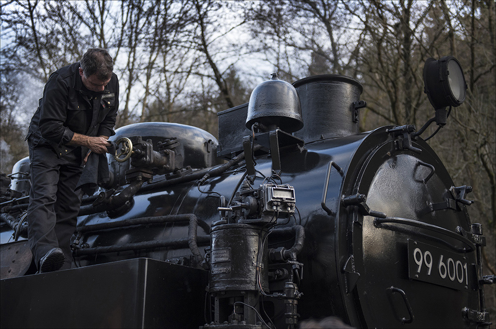 Die historische Dampflok 99 6001 zieht einen Personenzug auf der Schmalspurstrecke der Selketalbahn, hier im Bahnhof Alexisbad (Landkreis Harz) im Harz. Den Aufenthalt auf dem Bahnhof nutzt der Lokführer, um die Lok zu überprüfen. Die Dampflok wurde 1939 bei Krupp in Essen gebaut. Die Höchstgeschwindigkeit beträgt 50 km/h.